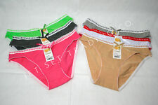6 pk Ladies Bikini Panties # 201A Assorted Colors Big Ribbon Sizes S to XL