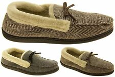 Mens COOLERS Grey Brown Faux Fur Lined Moccasin Slippers Sz Size 7 8 9 10 11 12