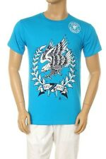 New Men's Printed American Flying Eagle Graphic Design Blue Cotton T-shirt