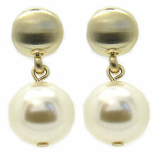 Gold-Plated Crystal Pearl Double Drop Stud Earrings Crystal Made by SWAROVSKI®