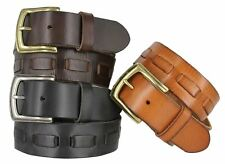 "Genuine Full Grain Leather Belt Gold Silver Buckle 1-1/2"" Wide Black Brown Tan"