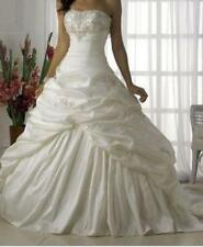 New White Ivory Pleat Train Bride Customize Wedding Dress 6 8 10 12 14 16 18 R52