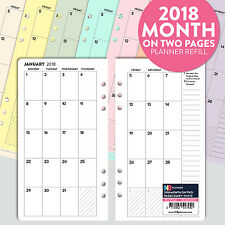 FILOFAX PERSONAL Compatible 2017 Month on one page refill insert Coloured Lined