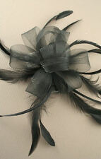 FEATHER BLACK LOOPED COILED NET FASCINATOR WITH HEAD COMB RACES BRIDAL WEDDING