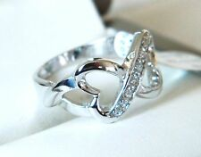 NEW Sterling Silver Ladies Clear CZ Infinity Hearts Ring Sizes J-U