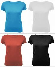 Womens Short Sleeve Scoop Round Neck Summer Plain Casual Stretchy T-Shirt Top