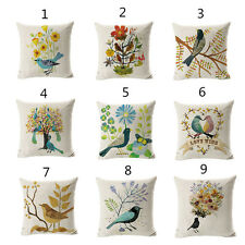 Colorful Birds With Flower Cushion Covers Cotton Linen Throw Pillow Case