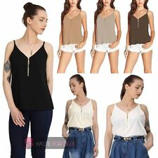 LADIES WOMENS NEW CAMISOLE STRAPPY V NECK ZIP DETAIL CAMI TOP PLUS SIZE