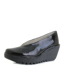 Womens Fly London Yaz Patent Black Luxor Leather Wedge Heel Shoes Sz Size