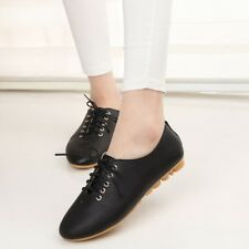 Women Spring Vintage Flats Pu Leather Round Toe Handmade Shoes Plus Size !!!