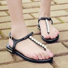 Women Leather Pearl  Butterfly-knot Black Casual Flat sandal Plus size 34-43