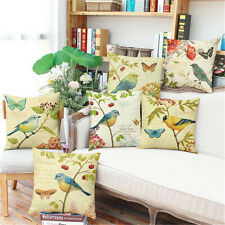Vintage Birds Cushion Covers Painting Print Cotton Linen Throw Pillow Case