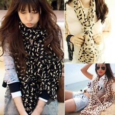 Women Fashion Cat Print Long Style Wrap Lady Shawl Chiffon Scarf Scarves WT88