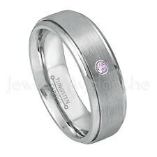 0.07ct Amethyst Solitaire Ring, February Birthstone, Brushed Tungsten Ring #068