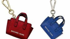 NEW Michael Kors leather mini Selma Bag charms Key ring fob purse chain Red Blue
