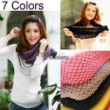Corn Knited Hood Neck Circle Cowl Wool Girls Scarf Shawl Wrap Loop Warm New WT88