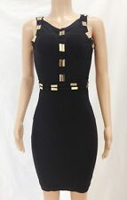 Black gold metal sequined bandage dress fashion elegant sleeveless party dresses