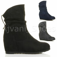 WOMENS LADIES MID HEEL CONCEALED WEDGE ZIP RUCHED SLOUCH RIDING ANKLE BOOTS SIZE