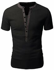 Mens Henley T-Shirt D15S 33 Doublju T-shirts W/ Short Sleeve- Choose SZ/Color.