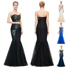 Peacock Long Wedding Bridesmaid Formal Evening Prom Ball Gown Dress Pageant Sexy