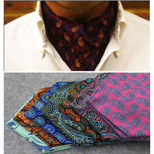 Mens Stylish Paisley Jacquard Wide Ties Cravat Wedding Party Floral Scarf Ascot