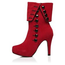 Women Ankle Boots High Heels Red Shoes Platform Flock Buckle Winter Boots