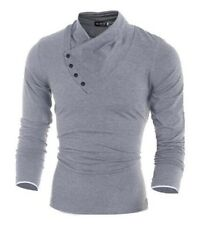 Mens Solid Long Sleeve Slim Cotton Anti-Shrink Polo Shirt