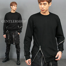 Men's Fashion Unbalanced Multi Zipper Sweatshirt, GENTLERSHOP
