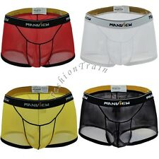 Sexy Mens Mesh Sheer Boxer Briefs Underwear  Shorts Trunk Bulge Pouch Underpants