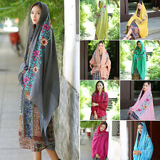 NS Women Large Embroidered Floral Scarf Cotton Linen Pashmina Shawl Wrap Scarves