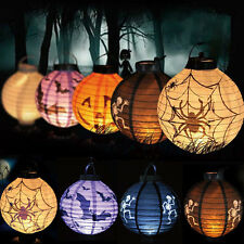 LED Paper Bat Spider Pumpkin Hanging Lantern Light Lamp Halloween Party Decor