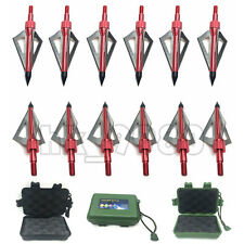 12 Pcs Lot Hunting Arrow Broadheads 100 Grain 3 Blade Fits Crossbow and Compound