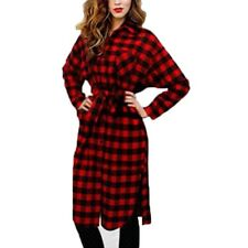 Women Style Long Sleeve Lapel Collar Dress Grid Plaid Check Shirt Dress