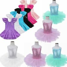 Kids Girls Gymnastics Ballet Dance Leotard Tutu Princess Dress Leotard Costume
