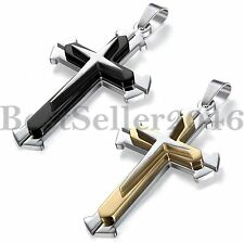 Fashion Mens Womens Cool Stainless Steel Multilayer Cross Pendant Necklace Chain