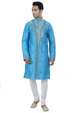 Indian Designer Blue Kurta Sherwani for Men 2pc Suit - Worldwide Postage