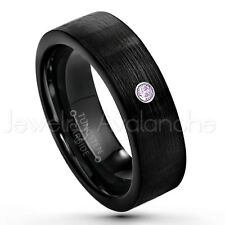 0.07ct Amethyst Solitaire Ring, February Birthstone, Black IP Tungsten Ring #232