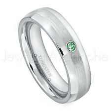 0.07ct Emerald Solitaire Ring, May Birthstone Ring, Tungsten Wedding Band #006