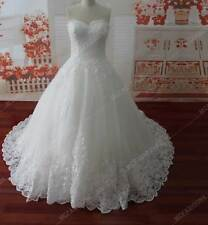 Sweetheart Applique ZipperButton Lace Bridal Gown   A Line Sweep Train Charming