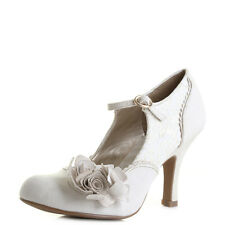 Womens Ruby Shoo Emily Cream Gold High Heel Court Shoes Sz Size