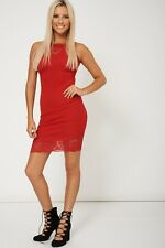 Ladies Nifty Red Sleeveless Dress With Lace Fabric