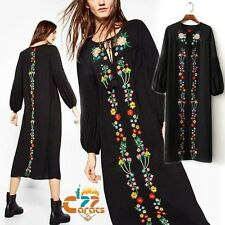 Vintage 70s hippie Mexican Floral Embroidered Boho Ethnic Festival Midi DRESS