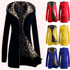 Women Hooded Coat Warm Winter Thicken Leopard Parka Cardigan Jacket Outerwear