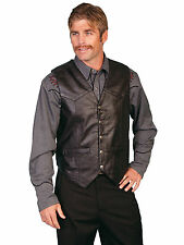 Scully Leather Mens Western Lambskin Snap Front Vest Black Soft Touch