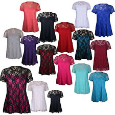 New Womens Plus Size Floral Lace Lined Nauvelle Party Tunic Top 14-28