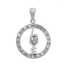 925 Sterling Silver Love with Circle Crystal Pendant Charm Necklace