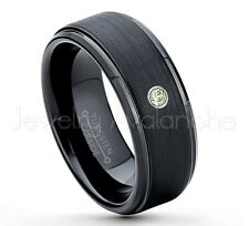 0.07ct Peridot Solitaire Ring,August Birthstone Ring,Black IP Tungsten Ring #083