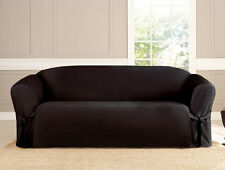 3 PC MICROSUEDE FURNITURE SLIPCOVER SOFA LOVESEAT CHAIR COUCH COVERS, BLACK