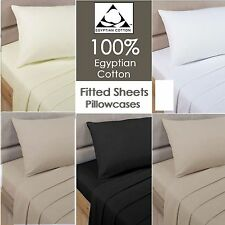 Fitted Sheets 100% Egyptian Cotton Percale 200 Thread Count Single Double King