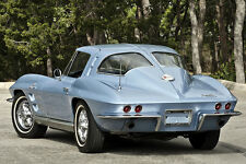 "CHEVROLET BLUE CORVETTE STING RAY - VINTAGE CAR - LARGE PHOTOGRAPHY - 30"" X 20"""